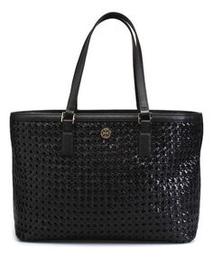 Look what I found on #zulily! Black Basket-Weave Robinson Leather Tote #zulilyfinds