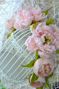 Цветы из шелка пионы Венок Психеи - бледно-розовый,пионы,цветы из шелка