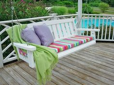 Porch swing after getting a paint makeover and new no sew cushion that can be made in minute Porch Swing Cushions, Outdoor Cushions, Chair Cushions, Porch Swings, No Sew Slipcover, Slipcovers, Diy Gifts For Christmas, Wooden Garden Furniture, Lawn Furniture
