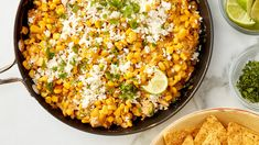 Prettier than your average chicken dip and tastier than plain old corn dip this hot cheesy riff on Mexican grilled street corn comes together easily in one skillet and is guaranteed to please. Dip Recipes, Side Dish Recipes, Mexican Food Recipes, Ethnic Recipes, Corn Dip, Appetizer Dips, Appetizer Recipes, Food Dishes, Side Dishes