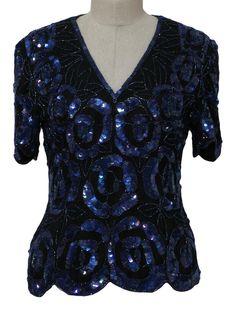 Night Out Medium Vintage 1980s Laurence Kazar V-Hemline Sequined Short Sleeved Blouse Beaded Eveningwear