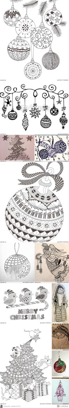 Christmas Zentangle Patterns, Christmas trees, ornaments, Santa, words, animals, angels, and stars. What  about a Zentangle manger or even a cross?