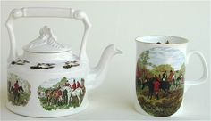 Victorian Hunt Teapot and 2 Mugs