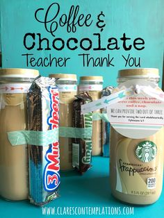 Coffee and Chocolate Thank-You: Perfect (cheap!) teacher or volunteer thank you gift of coffee and chocolate. Free printable label to pull it together for a quick, easy, DIY token of gratitude. Sure to be a hit!