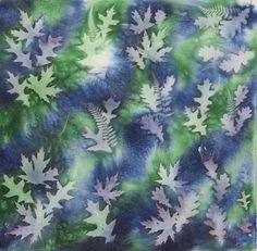 Blue and Green Sunprinted Cotton Fabric 22x22- Oak and Maple Leaves
