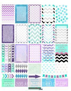 Happy Planner Teal & Purple Dots and Chevron Stickers - Free Printable To Do Planner, Free Planner, Happy Planner, Planner Ideas, Planners, Printable Planner Stickers, Calendar Stickers, Free Printables, Images Vintage