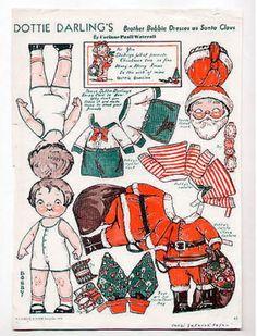 Vintage DOTTIE DARLING'S BROTHER BOBBIE/SANTA CLAUS paper dolls 1934 Christmas (10/11/2013)
