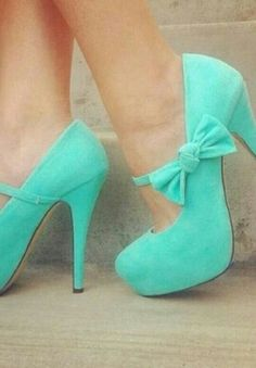 The perfect high heels, enough to make me feel like a Princess gojane bow mint heels knot maryjane spring style fashion