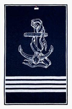 THOM BROWNE Navy Anchor Beach Towel.