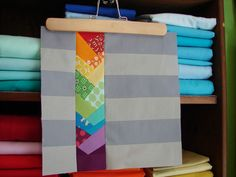 rainbow chevron quilt block