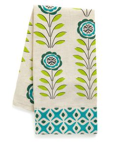 cute printed hand towel. I'm sort of dying over bright greens and blues these days.