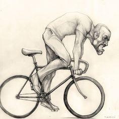 Ciclista furioso | personajes ilustrados