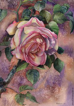 """Чудесная акварельная картина """"Испанская роза"""" — работа дня на Ярмарке Мастеров"""