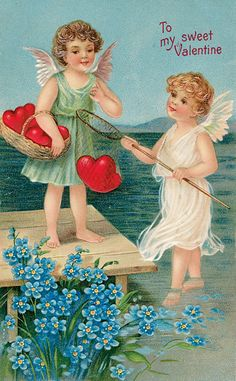 Valentines Cherubs Fishing for Hearts from Antique Card Counted Cross Stitch Pattern - Freitag Lustig Neu Valentine Images, Vintage Valentine Cards, Vintage Greeting Cards, Valentine Day Cards, Vintage Postcards, Images Vintage, Valentine Poems, Valentine History, Valentine Cupid