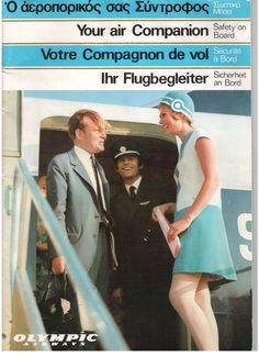 OLYMPIC AIRWAYS BOEING 707 & 727 VINTAGE SAFETY CARD AIR COMPANION MAGAZINE OA -Olympic Airways Air Companion Inflight Magazine with several pages of Boeing 707 & Boeing 727 Safety information and images etc. There are also lots of cabin service and crew pics as well.