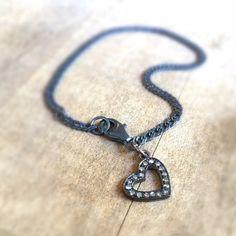Diamond Charm Bracelet  Heart Charm Jewelry  by jewelrybycarmal