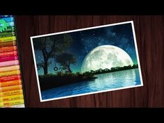 Beautiful moonlight scenery drawing with oil pastels for beginners - step by step oil pastel drawing - step by step In this video I show you how to draw beau. Night Sky Drawing, Drawing Sunset, Drawing Scenery, Night Sky Painting, Oil Pastel Drawings Easy, Oil Pastel Paintings, Unique Drawings, Beautiful Drawings, Oil Pastel Crayons