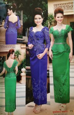 Khmer style Dress Brukat, Kebaya Dress, Thai Dress, Party Dress, Skirt Fashion, Fashion Dresses, Thai Fashion, Filipiniana, Classy Dress