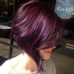 Short Purple + Magenta + Brown Hair