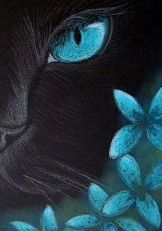 """Black Cat - Aqua Flowers"" par Cyra R. Cancel"