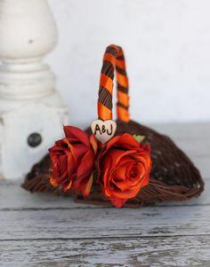 Rustic Fall Flower Girl Basket AND Ring Bearer by braggingbags Wedding Engagement, Diy Wedding, Rustic Wedding, Dream Wedding, Wedding Ideas, Engagement Basket, Wedding Cake, Wedding Stuff, Pine Cone Wedding
