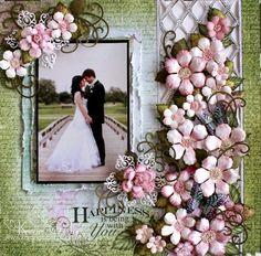 Karan Gerber : Happiness Is You- Heartfelt Creations - gorgeous scrapbook page. #WeddingScrapbookPageIdeas