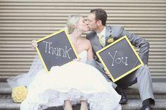 Yellow and gray wedding thank ou photo. Thank you card pic. @Kaylee Score Score Score rademacher
