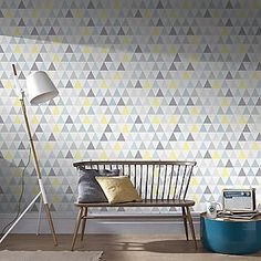 Graham & Brown Tarek Jaune Wallpaper - Bleu | Freemans