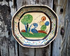 Old Mexican Pottery Tlaquepaque Dish with Bird Design, Wall Plate, Rustic Decor Farmhouse 90 Day Plan, Hacienda Style, Wire Hangers, Bird Design, Rust Color, Spanish Style, North Africa, Plates On Wall, Rustic Decor