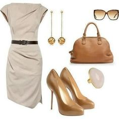 Khaki dress. Tan accessories