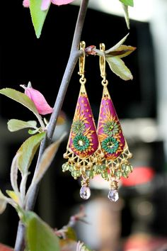Peridot,sparkly rose quartz  and Clay Floral earrings in 24k bali vermeil and gold fill -  Bougainvillea Arbor. $84.00, via Etsy.