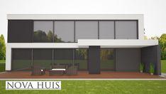 Nova huis moderne woningbouw in kubistische stijl met plat dak en
