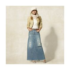 Denim Maxi Skirt ($110) ❤ liked on Polyvore featuring skirts, denim maxi skirt, floor length skirts, fringe maxi skirt, ripped denim skirt and 80s skirts