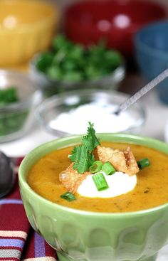 Creamy Hatch Green Chile and Cheese Soup from @creativeculinary