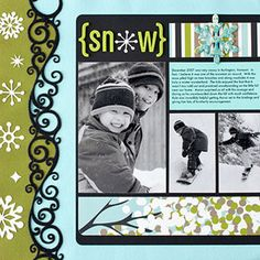 Cute winter fun scrapbook page for boys. Scrapbook Sketches, Scrapbook Page Layouts, Scrapbook Paper Crafts, Scrapbook Cards, Friend Scrapbook, Scrapbook Photos, Photo Layouts, Wedding Scrapbook, Scrapbook Albums