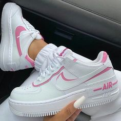 Find the best selection of Nike Air Force 1 Shadow white and pink sneakers. Shop today with free delivery and returns (Ts&Cs apply) with ASOS! Jordan Shoes Girls, Girls Shoes, Shoes Women, Souliers Nike, Nike Shoes Air Force, Nike Force 1, Air Force Sneakers, Aesthetic Shoes, Urban Aesthetic