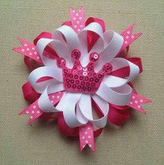 This fun hair bow can make any girl feel like a princess! A unique back to school accessory! Hair Bow measures wide (can be made Hair Ribbons, Ribbon Bows, Grosgrain Ribbon, Princess Hair Bows, Pink Princess, Do It Yourself Inspiration, Pink Hair Bows, Diy Accessoires, Hair Bow Tutorial