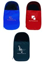 "Golf Shoe Bag - Made of 600 Denier nylon, with an inside zippered pouch and webbed handle. Size: 8""l x 4""w x 14.5""h. Available in three colors - black, royal blue, and red. Customize with your tournament logo or theme."