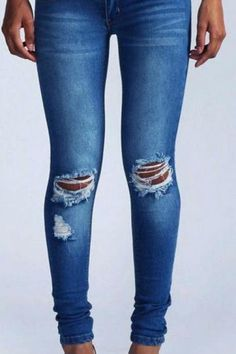 Holes Ripped Straight Slim Beggar High Waist Jeans