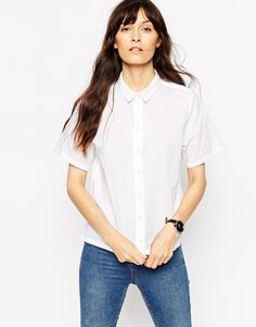 Image 1 of ASOS Boxy Shirt With Short Sleeve