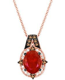 Le Vian® Chocolatier Fire Opal (9/10 ct. t.w.) and Diamond (1/5 ct. t.w.) Pendant Necklace in 14k Rose Gold