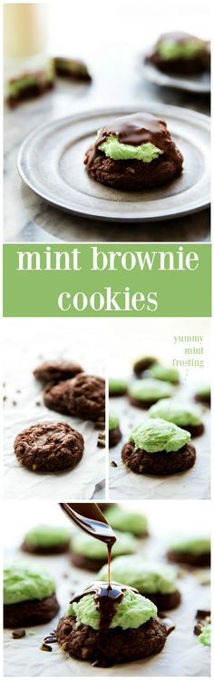 Delicious fun and creative cookies for your next cookie exchange. Mint Brownie Chocolate Cookies