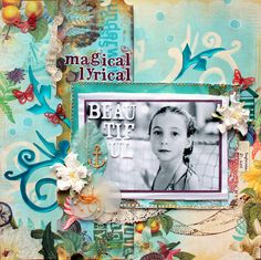 Tutorial for using a flourish as a mask, by Ilene Tell. The page looks stunning, I love the turquoise!
