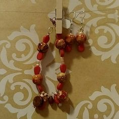 Bracelet and earrings Wooden and glass beads in coral and orange with handmade charms Accessories