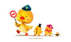 """Please stop"" Said the Little Police Duckling. Illustration by: Evan Raditya Pratomo. www.papercaptain.com"