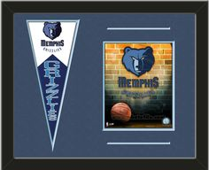 One framed 8 x 10 inch Memphis Grizzlies photo of Grizzlies-2006 Logo with a Memphis Grizzlies mini felt banner, double matted in team colors to 20 x 16 inches.  The lines show the bottom mat color.  (Pennant design subject to change)  $79.99 @ ArtandMore.com