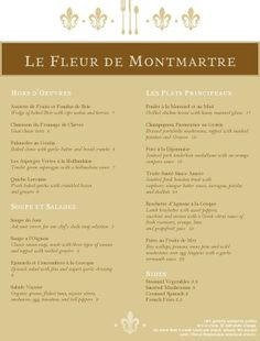 Sample French Menu  Musthavemenus  Menus Galore