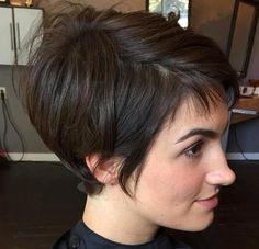 Modele de coupe cheveux court brune