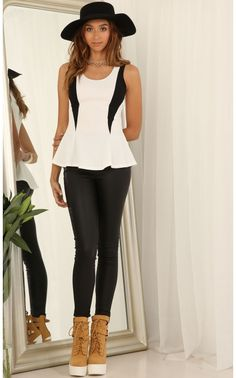 Tops > Peplum Top With Black Accents