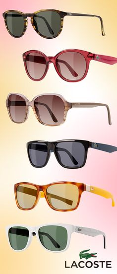 Calling all confident guys 'n' gals alike! Drawing attention to your peepers has never been easier with the latest springtime LACOSTE shades and specs. With vibrant hues and eye-catching accents—that pay special homage to the renowned brand's classy cool vibe—at the forefront, these simplistically shaped frames are utterly stunning!